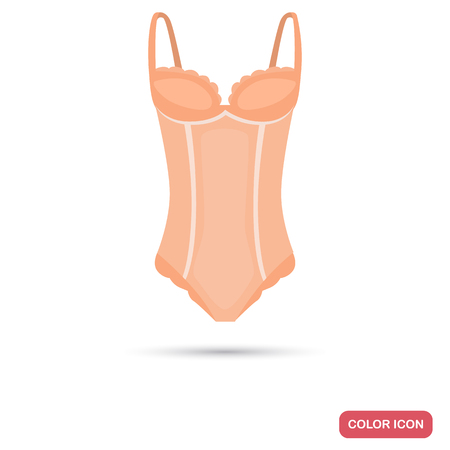 Women bodysuit color flat icon for web and mobile design Illustration