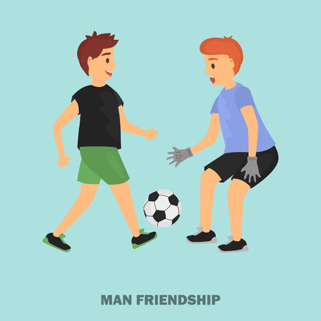 Two friend play football color illustration for web and moile design Çizim