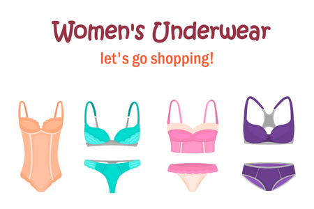 Womens underwear set for web and mobile design