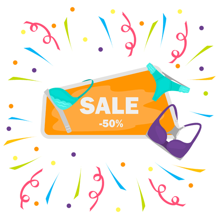 Signboard on discount for womens underwear color illustration on white background Illustration