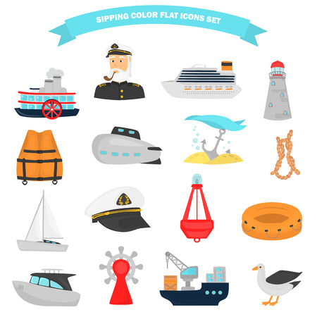 Set of shipping color flat icons for web and mobile design Illustration