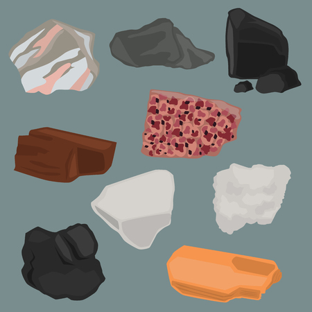 Minerals color flat icons set for web and mobile design