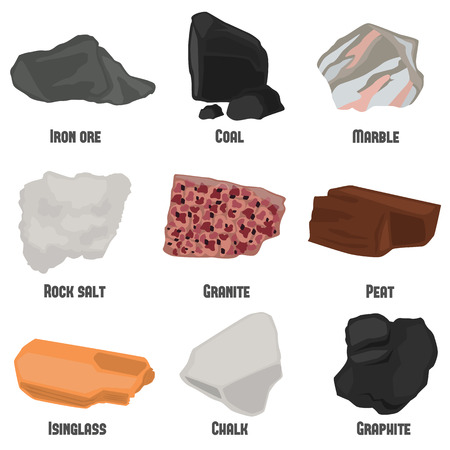 bowels: Minerals color flat icons set for web and mobile design