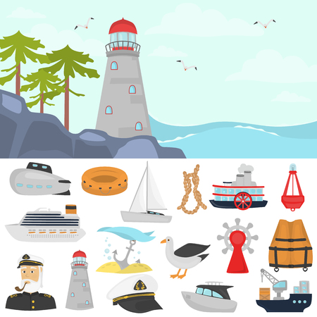 Set of shipping color flat icons. Lighthouse on the beach color illustration for web and mobile design