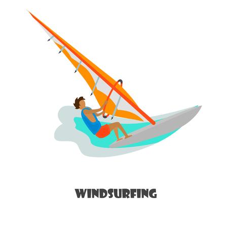 Windsurfing man color illustration for web and mobile design