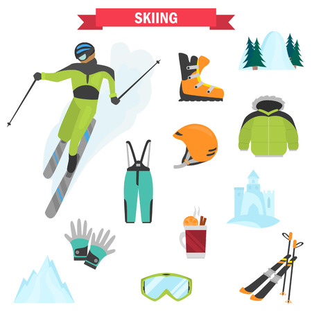 Skiing sports color icons set for web and mobile design