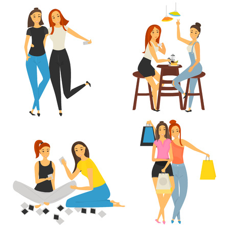 Girl friendship color isolated illustration for web and mobile design Illustration