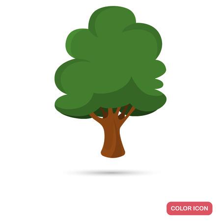 Beech tree color flat icon for web and mobile design Ilustração