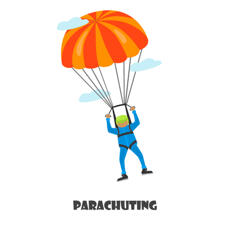 Parachuting man color illustration isolated on white