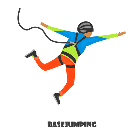 Basejumping man color illustration isolated on white