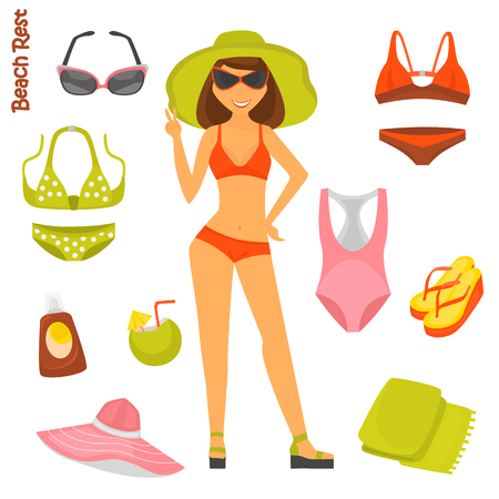 Girl in the swimsuit and beach color set icons for web and mobile design