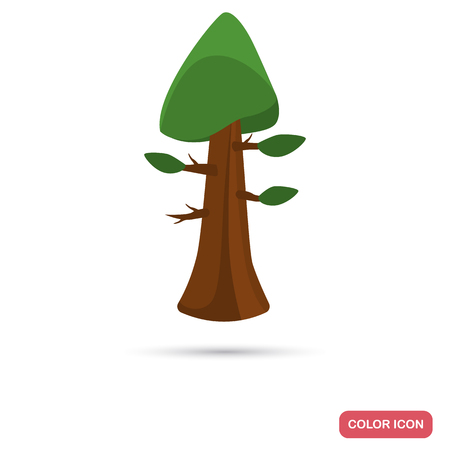 Sequoia tree color flat icon for web and mobile design
