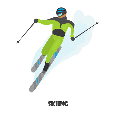 Skiing man color illustration isolated on white
