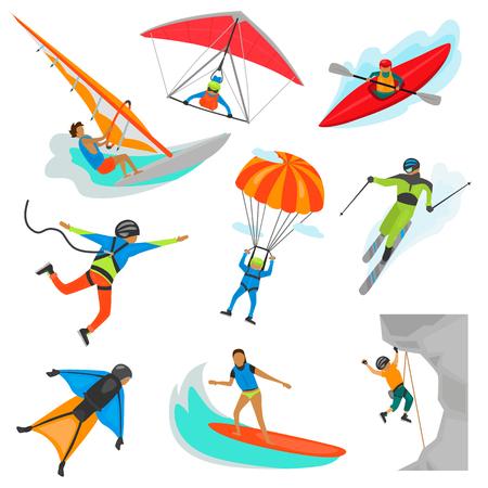 Extreme sports color illustration set isolated on white Illustration