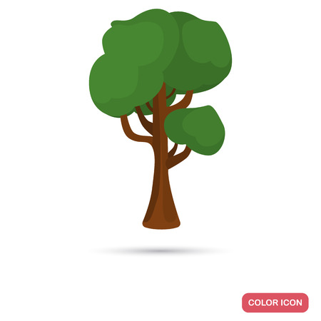 latitude: Maple tree color flat icon for web and mobile design Illustration