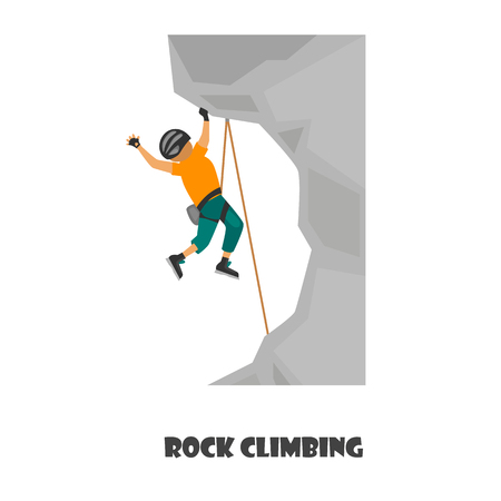 Rock climbing color illustrarion isolated on white