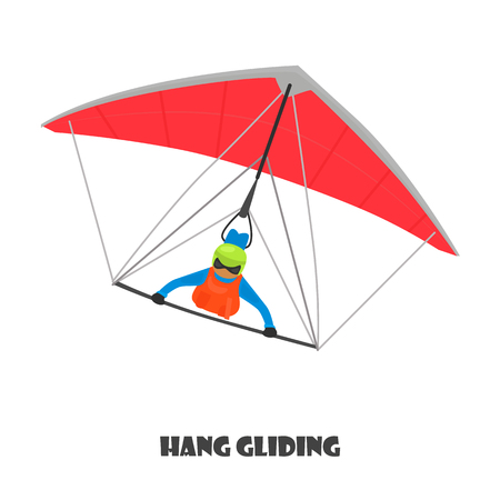 Paragliding man color illustration isolated on white