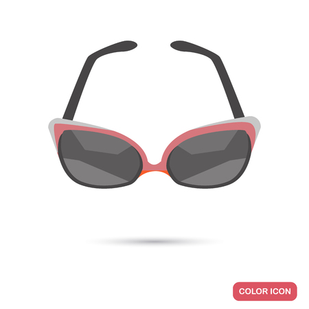 Girl sunglasses color flat icon for web and mobile design Çizim