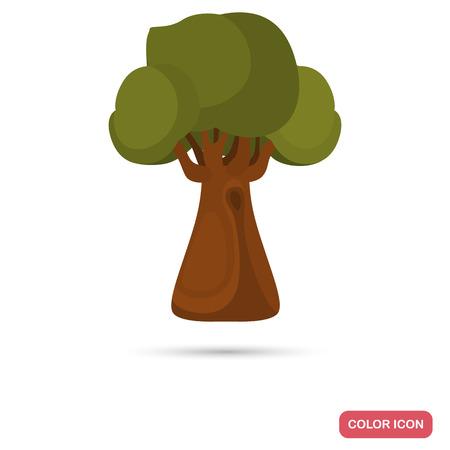Oak tree color flat icon for web and mobile design. Ilustração