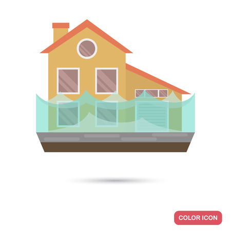 House under the flood clor flat icon Illustration