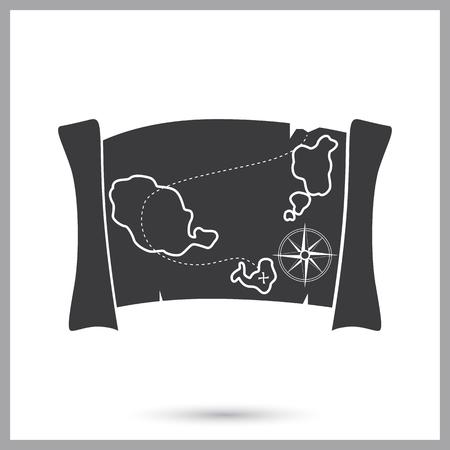 Ancient treasure map simple icon