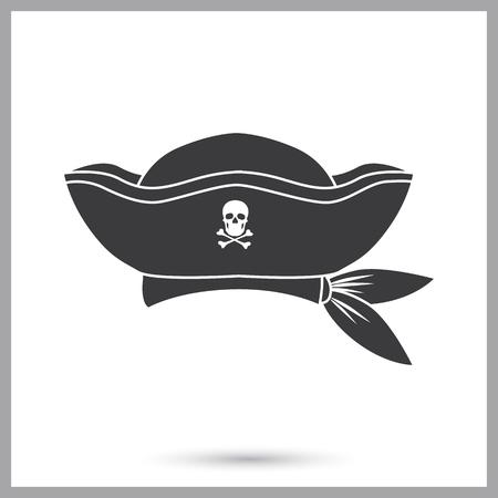 Pirate captain hat simple icon Illustration