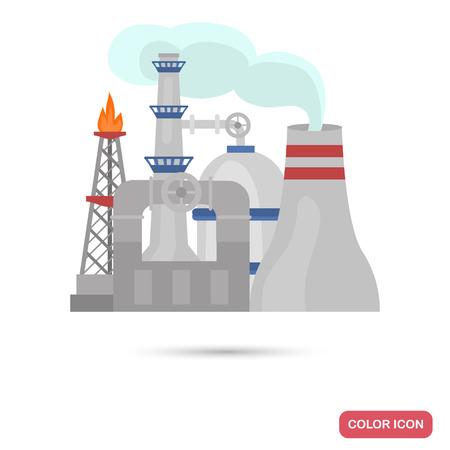 Oil refinery color flat icon