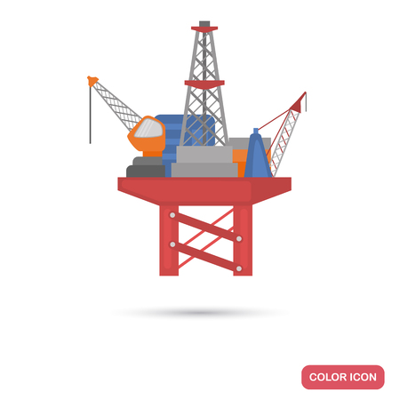 Oil production station on water color flat icon
