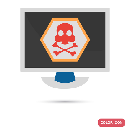 infected: Computer infected with virus color flat icon Illustration