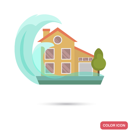 Tsunami wave covers the house color flat icon