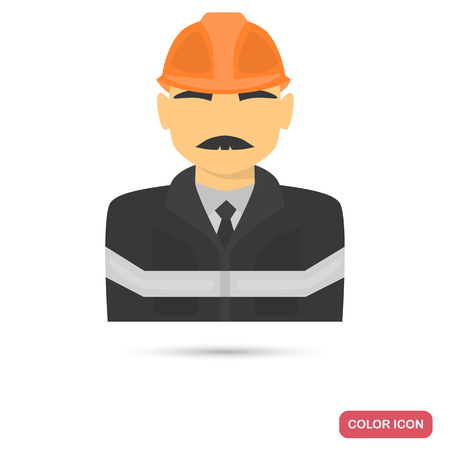 Oil industry specialist color flat icon