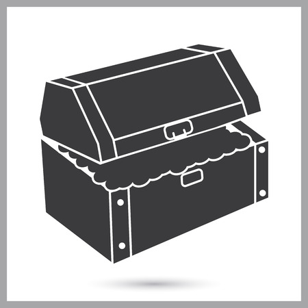 Treasure chest simple icon Illustration