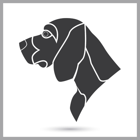 bloodhound: Beagle hunter dog simple icon
