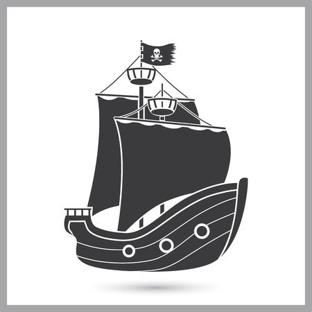 Pirate ship simple icon