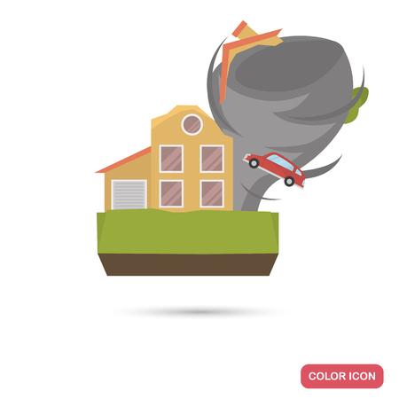 Huis verpletterd onder tornado kleur plat pictogram