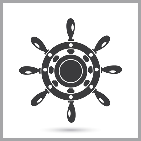 Ship steering wheel simple icon on a plain background.