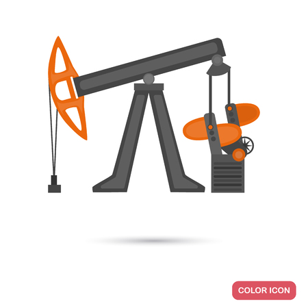 Oil rocking machine color flat icons on a plain background.