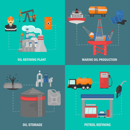 Oil and gus industry color flat icons concept set