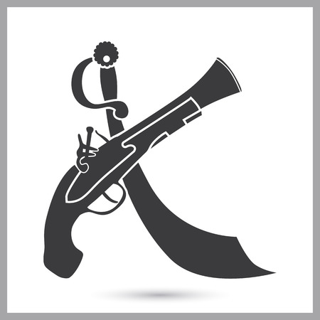 Crossed pirates musket and saber simple icon Illustration