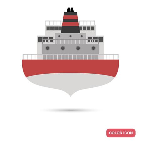 Oil transportation tanker color flat icon Illustration
