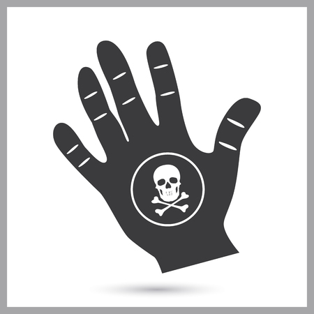 Black mark on the hand simple icon