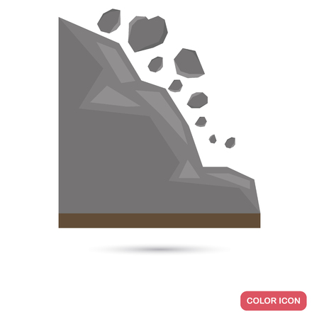 A landslide in the mountains color flat icon Illustration