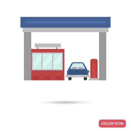 Petrol refueling color flat icon on plain background.