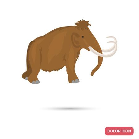 Ice age mammoth color flat icon Illustration
