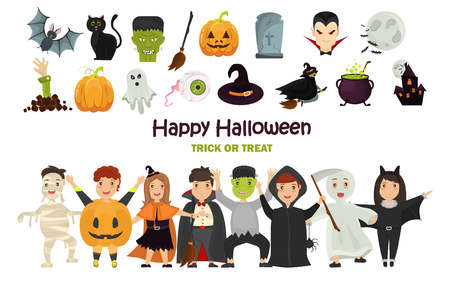 Set of color costumed girls and boys. Halloween color icons set