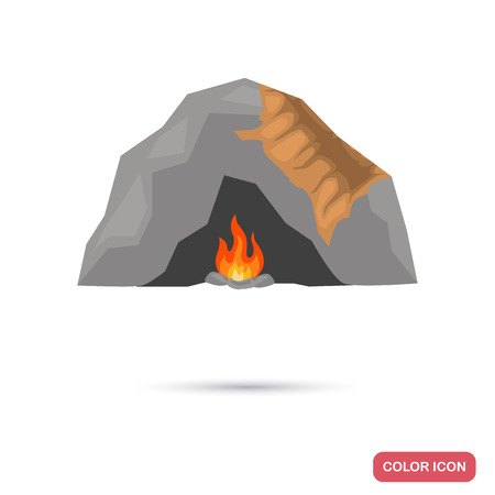 Cave of the primitive man color flat icon