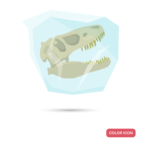 Frozen dinosaur skull color flat icon