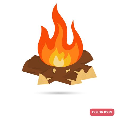 Primitive man fire color flat icon