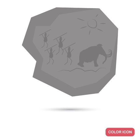 Ancient rock drawing color flat icon