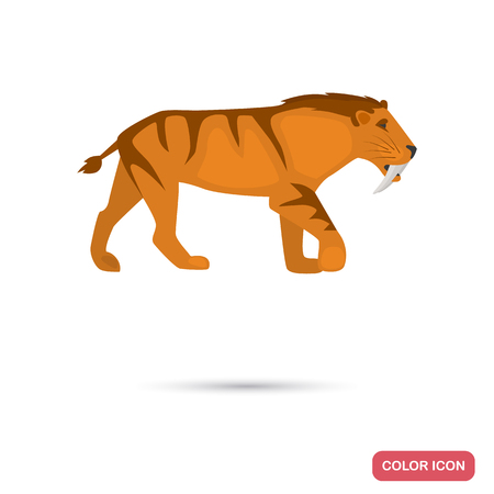 Saber-toothed tiger color flat icon